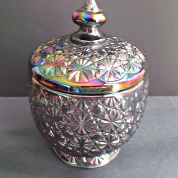 L.E. Smith Carnival Glass Amethyst Daisy and Button Candy Jar 1972 - 1976