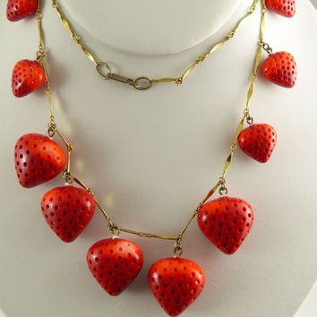 Vintage Hobe Glass Strawberry Necklace