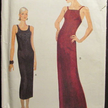 SALE Uncut 1990's Vogue Sewing Pattern, 9594! 12-14-16 Sml/Medium/Large/Women's/Misses/Evening Dress/Sleeveless Dress/A-line/Shoulder Straps