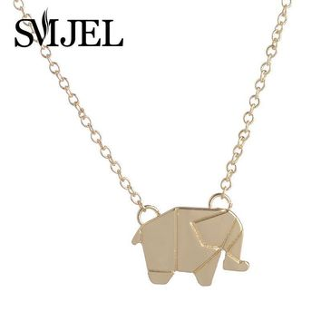 SMJEL 2017 New Fashion Dainty Origami Elephant Necklaces Chain Boho Geometric Animal Pendants Necklaces Woodland Jewelry gifts