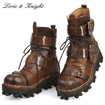 Cowhide Genuine Leather Mid-calf  Steampunk Style Boots