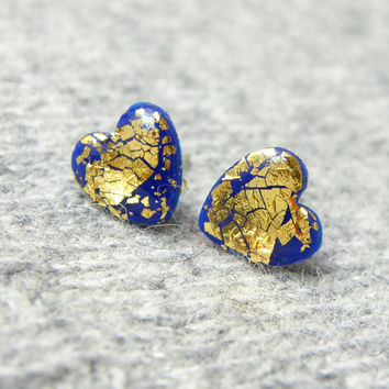 FREE SHIPPING Dark blue-gold  stud hearts earrings. Valentine Day Jewelry. Polymer clay studs with real gold leaf. Cute post earrings.