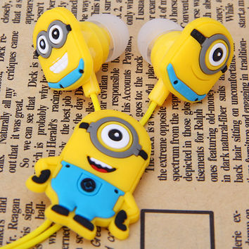 New Cute Minion Style Despicable Me 3.5mm Universal Earphone for Music Lovers