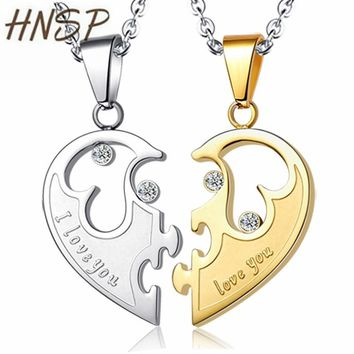 HNSP Half heart lovers' Couple Pendant Necklaces Leather Rope Chain For Women Men best friend Gold Silver Color  jewelry