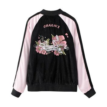 Spring Pink Panther Applique Patch Embroidery Souvenir Bomber Jacket ulzzang Women Baseball Japan Harajuku Duster Coat Sukajan