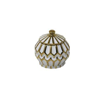 Modern Stylish Ceramic Covered Jar With Lid, White And Gold By Sagebrook Home