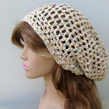 Potpourri Cotton hippie slouchy snood beanie, small dread tam hat, slouch beanie hat