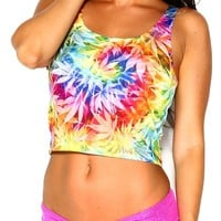 iHeartRaves Ganja Weed Leaf Tie Dye Rave Crop Top (Medium/Large)