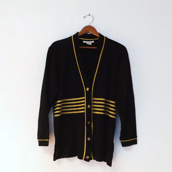 Vintage 1980s 90s Retro Kathy Daniels Black Sparkly Gold Striped V Neck Cardigan Button Maxi Sweater Hipster Preppy Nautical Military Small