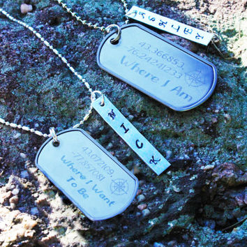 Personalized Latitude and Longitude Couples Necklace Set - His & Hers Latitude and Longitude ID Tag Necklaces