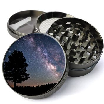 Milky Way Galaxy Deluxe Metal 5 Piece Herb Grinder With Fine Screen - Cheap Grinders You Can Customize