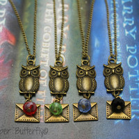 Hogwarts Acceptance Letter  B- Harry Potter Inspired Necklace - Gryffindor Red, Slytherin Green, Ravenclaw Blue or Hufflepuff Black -6140176