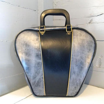 Vintage, Bowling Bag, Large, Vinyl, Metallic Gray, Black, Gold, Retro, Bowling, Photo Prop, Accessories, Sporting Goods, RhymeswithDaughter
