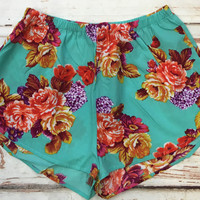 Flossy Floral Shorts: Mint