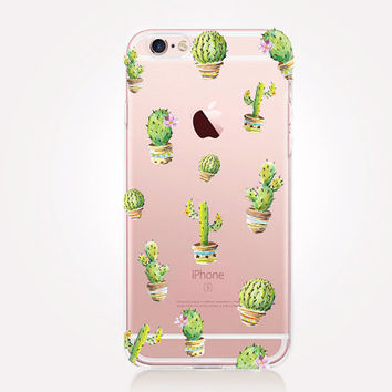 Transparent Cactus Phone Case - Transparent Case - Clear Case - Transparent iPhone 6 - Gel Case - Soft TPU Case - Samsung S7