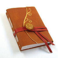 Fantasy - Orange Leather Journal / Diary / Notebook