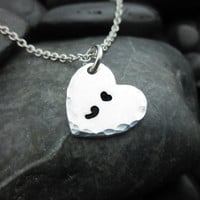 Semicolon Necklace - Heart - Charm Necklace - Project Semicolon - Encourage, Love, Inspire - Mental Health Awareness