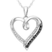 Sterling Silver Black and White Round Diamond Heart Pendant (1/10 Cttw)