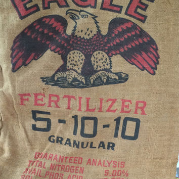 Burlap Sack Eagle Brand Tobacco Fertilizer Wilmington Fertilizer Co. Wilmington North Carolina