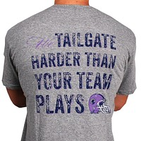 Tailgate Harder Tee in Grey with Purple Helmet by Southern Proper - FINAL SALE