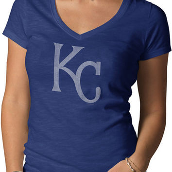 Kansas City Royals '47 Brand T-Shirt - Royals Royal Blue V-Neck Scrum Short Sleeve V-Neck