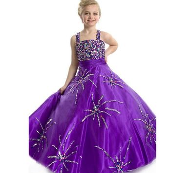 2017 Purple Pageant Dresses for Girls Ball Gown Sleeveless Organza Floor Length Kids Evening Gowns Crystals Girls pageant dress
