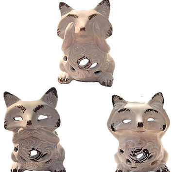 Bella Lux Ceramic White Brown Raccoon Tealight Holders Critter Fall Candle Holder Luminary