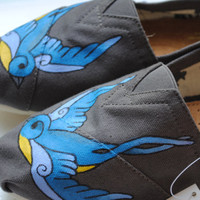 Custom Hand Painted TOMS Swallow Bird Design by PaperHeartsCouncil