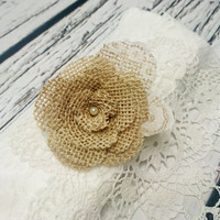 Bobby pin wedding hair clip  burlap and lace handmade flower bridal hair piece pearl rustic custom
