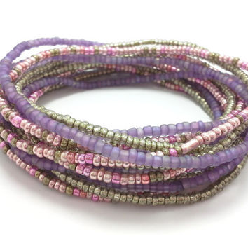 Seed bead wrap stretch bracelets, stacking, beaded, boho anklet, bohemian, stretchy stackable multi strand, metallic pink purple khaki