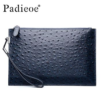 Genuine Leather Men Clutch Bags Unisex Leather Handbags New Fashion Ostrich Pattern Men Clutch Wallet Purse