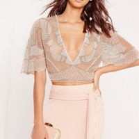 Missguided - Plunge Embellished Crop Top Nude