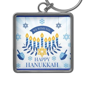 Happy Hanukkah Keychain