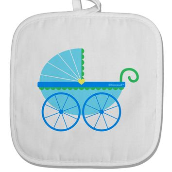 Baby Boy Carriage White Fabric Pot Holder Hot Pad