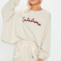 Missguided - Nude Calabasas Graphic Sweat