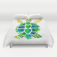 Turtle Love Duvet Cover by Catherine Holcombe | Society6