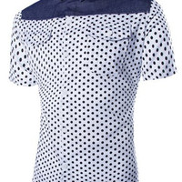 Polka Dot Print Color Block Short Sleeve Shirt