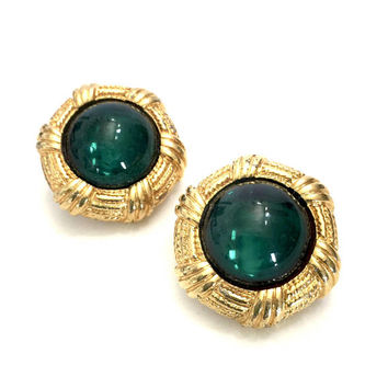Big Green & Gold Button Earrings, Large Gripoix Style Emerald Green Glass Cabochons, Textured Gold Tone Metal, Vintage Clip-onEarrings