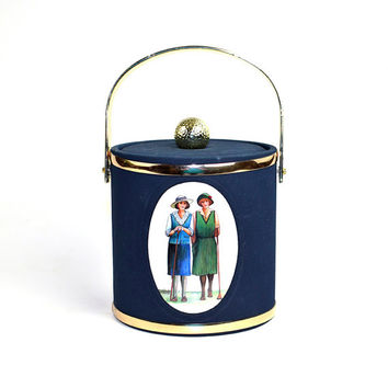 Golf Ladies Ice Caddy - Old Fashioned Cooler Bucket, Golfing Women Illustration on Navy Blue Fabric, Gold Trim - Vintage Home Decor