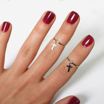 2 Silver Above the Knuckle Rings with a tiny cross - thin silver rings with cross stack midi rings