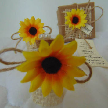 Sunflower Bridesmaid Proposal Will you be my Bridesmaid Invitation Message in a Bottle Sunflower Wedding Invitation Flower girl Gift