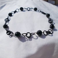 "Black Jeweled Bracelet, Handmade Chain Links,  ""Vanessa"""