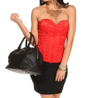 Red Lace Up Back Corset Top