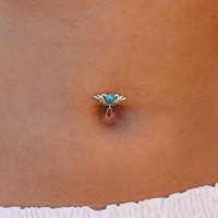 Tribal Reverse Belly Bar, Coral & Turquoise from Karma Se7en
