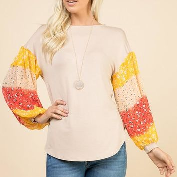 Ombré Puff Sleeve Top - Yellow and Taupe
