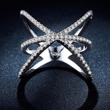 Criss Cross White Gold Plated CZ Crystal Ring