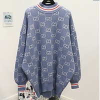 Gucci Fashion Casual Print Long Sleeve Pullover Medium length Sweater Blue G