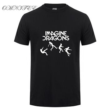 Men T shirt IMAGINE DRAGONS Letters Printed T Shirts Summer Short Sleeve O-Neck Cotton Indie Rock Band Men Tops