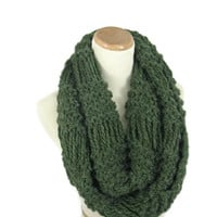 Green Infinity Scarf, Knit Infinity Scarf, Circle Scarf, Knit Cowl, Snood, Gift Idea For Her, Women Scarf, Fashion Scarf, Winter Scarf,