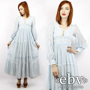 Vintage Hippie Dress Gunne Sax Dress 70s Maxi Dress Vintage 70s Gunne Sax Baby Blue Maxi Dress XXS XS Wedding Dress Ethereal Dress